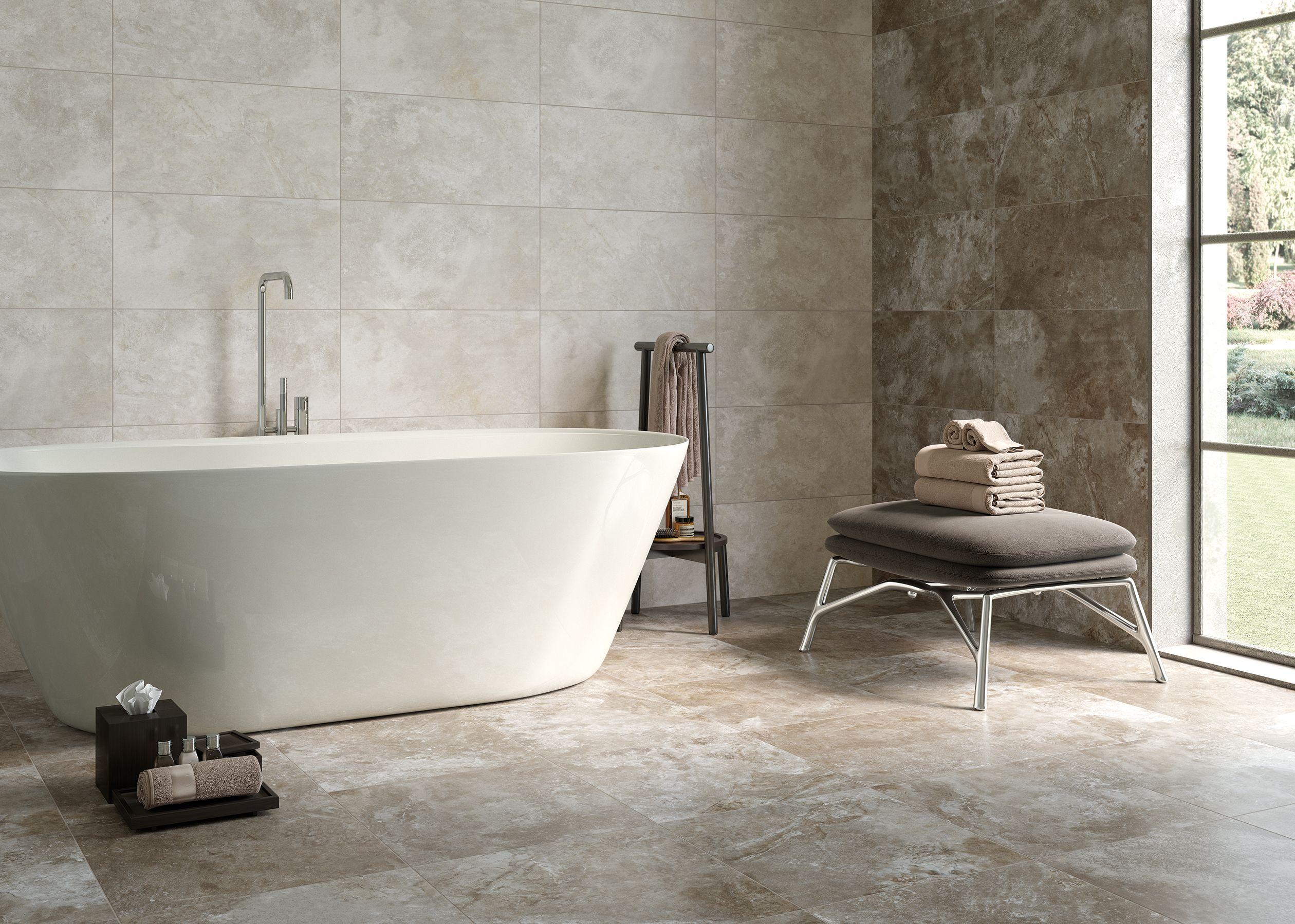 Pisos cerámicos efecto cemento en el baño