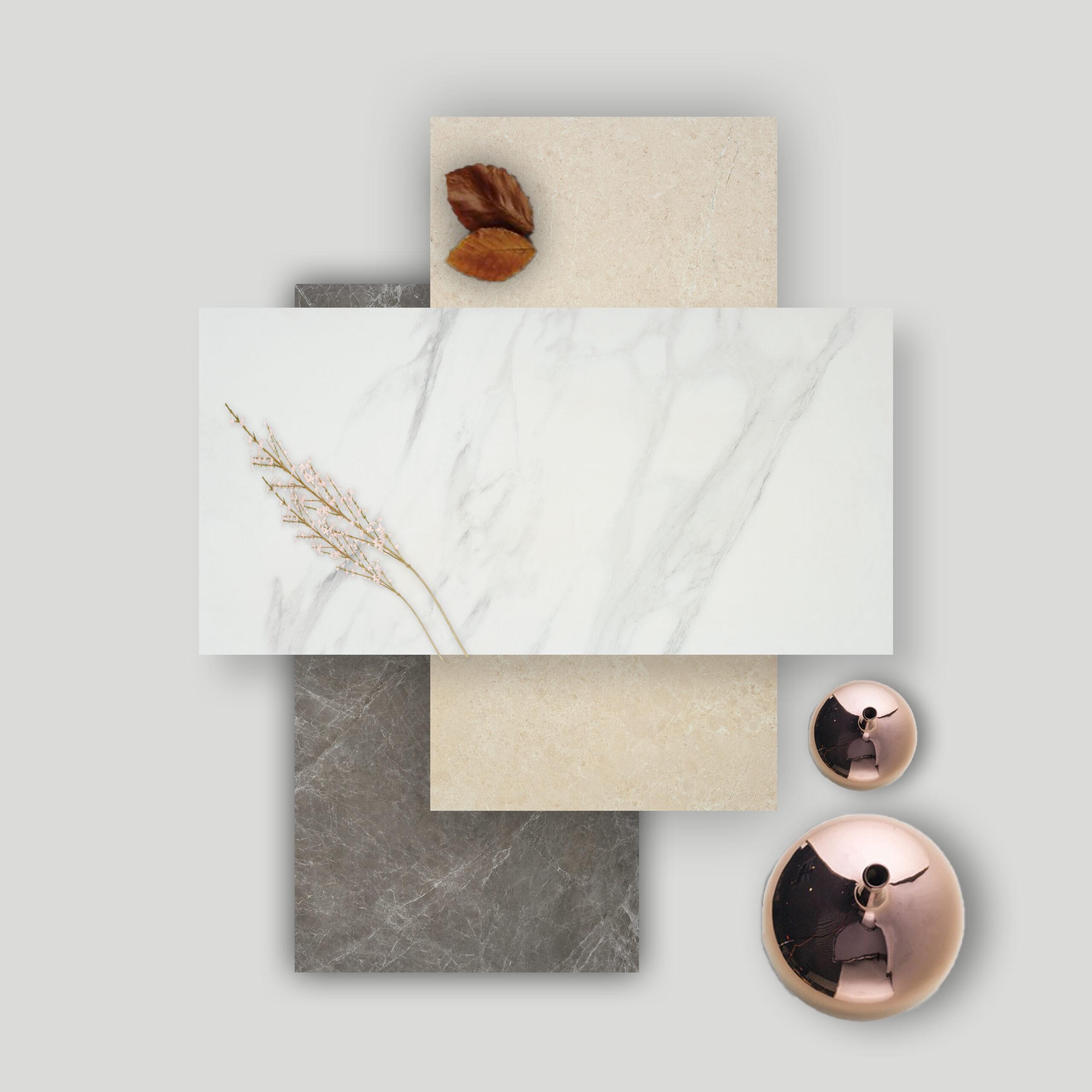 Moodboard de interiorismo con pisos cerámicos tipo mármol